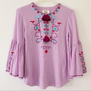 Figue Cotton Britt embroidered Peasant top